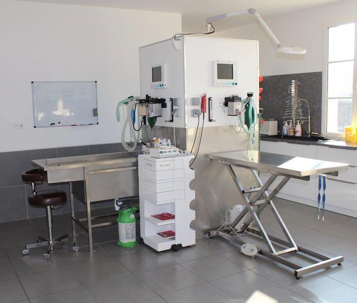 Salle de préparation chirurgicale de la clinique vétérinaire des arènes